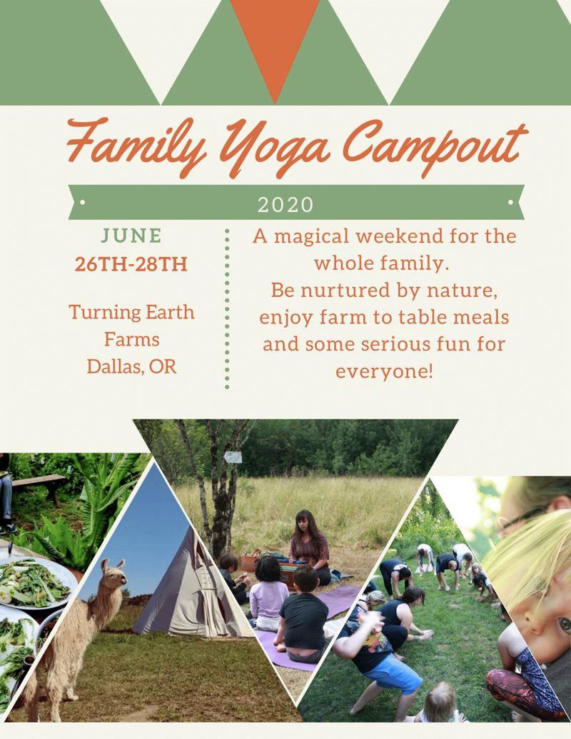 Family Yoga Campout at Turning Earth Farm promotional poster.