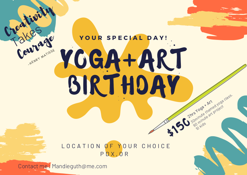Yoga & Art Birthday Party promotional poster.
