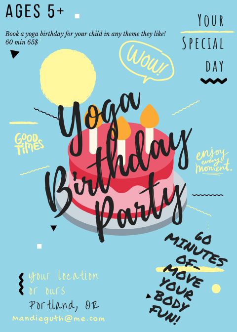 Yoga Birthday Party promotional poster.